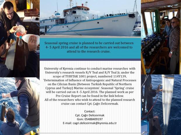 Girne Üniversitesi TÜBİTAK 114Y139 (1001) Kod No'lu Proje Kapsamında Deniz Araştırmalarına Devam Ediyor