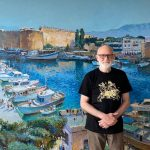 Artist Alexey Utkin painted the Harbor of Kyrenia and Nicosia Palace Courtyard, the Touristic Places of the Turkish Republic of Northern Cyprus, for the Cyprus Museum of Modern Art